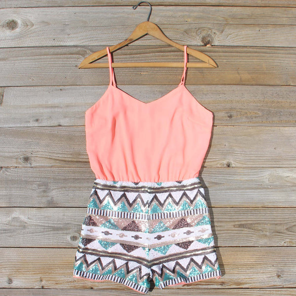 Crystal Wishes Romper in Peach: Featured Product Image