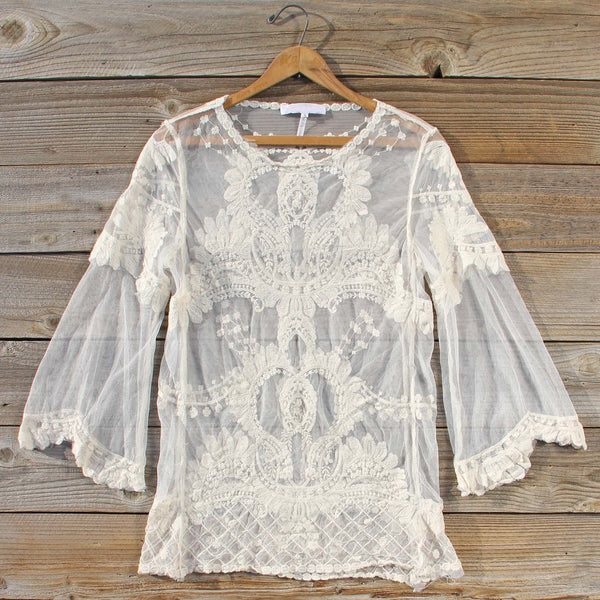 December Lace Blouse in Cream: Featured Product Image