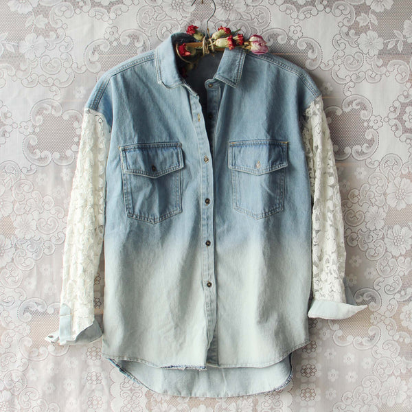 Denim & Lace Boyfriend Shirt: Featured Product Image