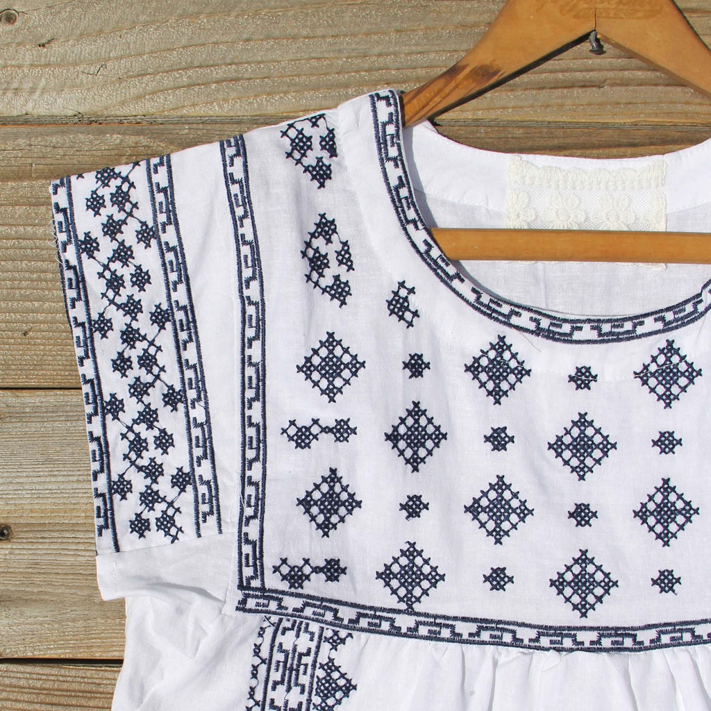 Mexican Embroidered Dress with Lace