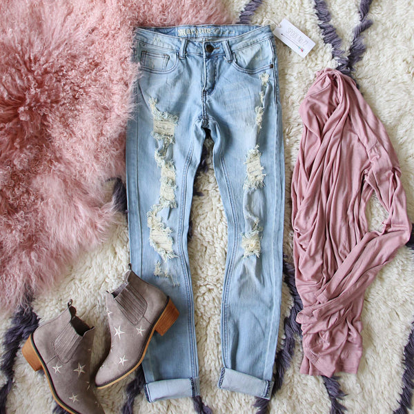 Dreamy Sky Distressed Jeans: Featured Product Image