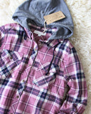 The Easton Plaid Hoodie in Mauve: Alternate View #2