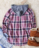 The Easton Plaid Hoodie in Mauve: Alternate View #3
