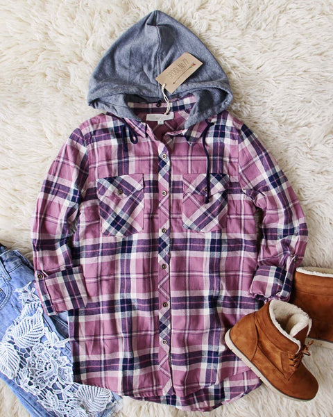 The Easton Plaid Hoodie in Mauve: Featured Product Image