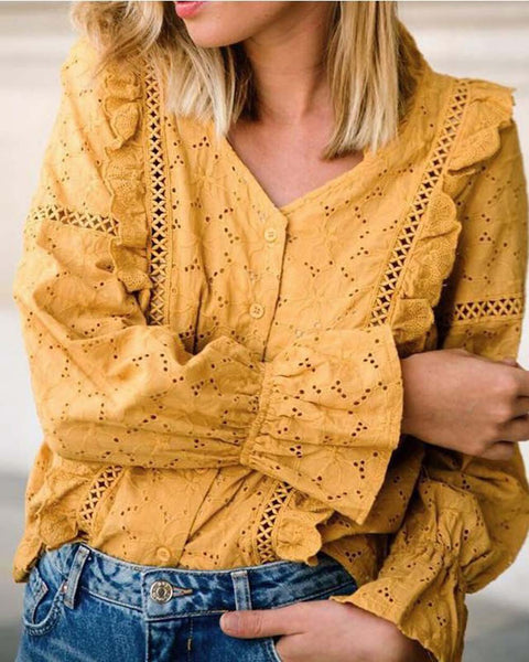 Mustard + Eyelet Love Top: Featured Product Image
