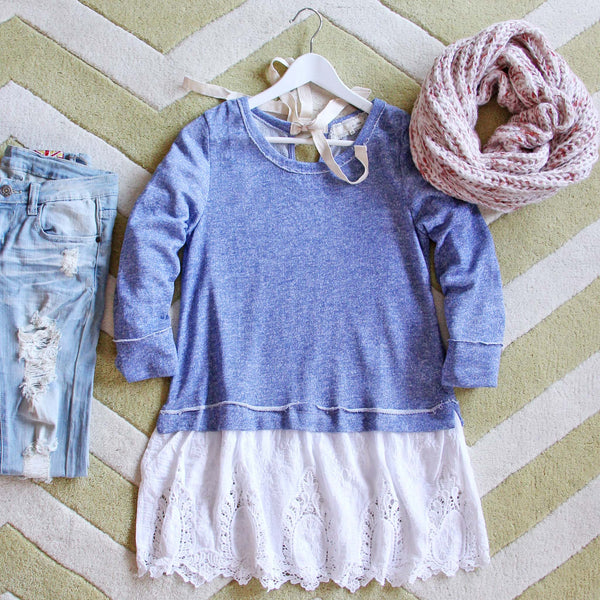 Fall Tale Lace Sweatshirt in Blue: Featured Product Image