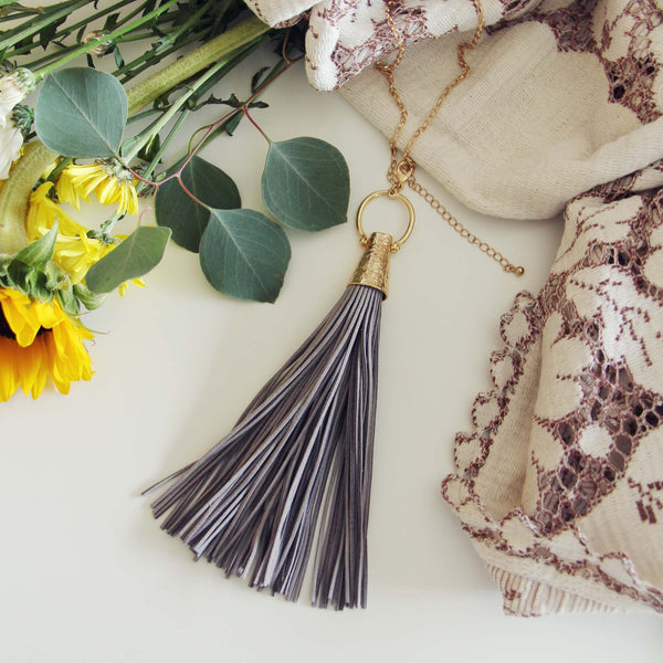 Farrah Tassel Necklace in Gray: Featured Product Image