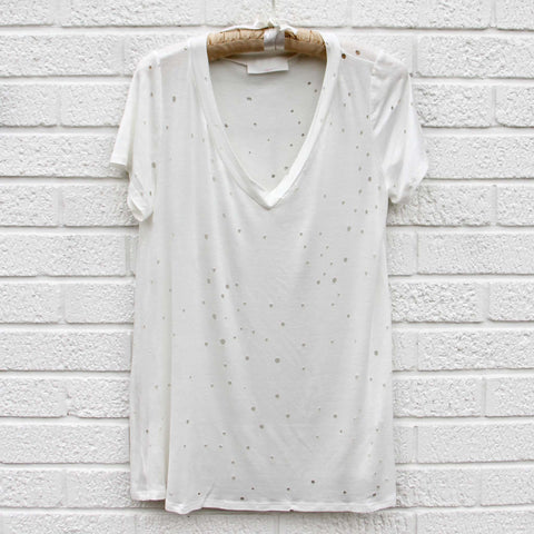 Finley Distressed Tee in White