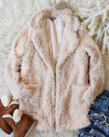 Fireside Shearling Coat in Dusty Pink