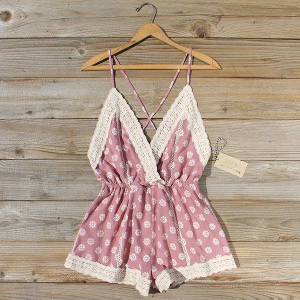 Flower Child Lace Romper in Desert: Featured Product Image