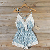 Flower Child Lace Romper in Sage: Alternate View #1