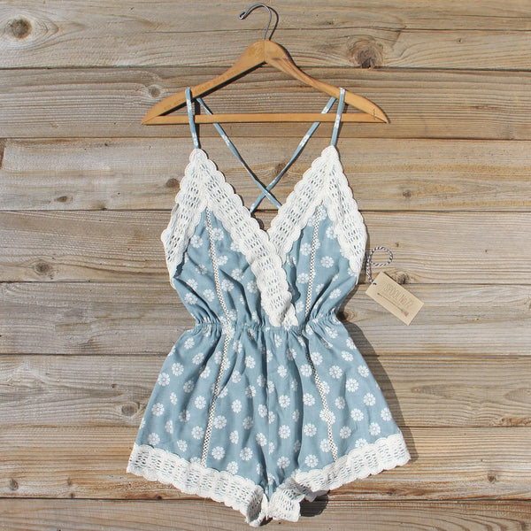Flower Child Lace Romper in Sage: Featured Product Image