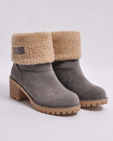 Fold Over Booties in Gray