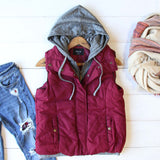 Forest Smoke Hooded Vest in Burgundy: Alternate View #1