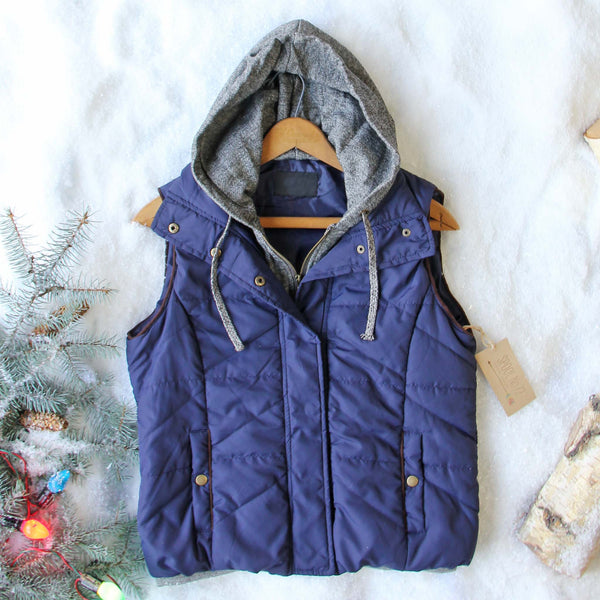 Forest Smoke Hooded Vest in Navy: Featured Product Image