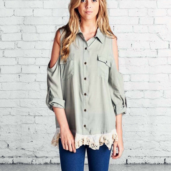 Foxly Lace Top in Sage: Featured Product Image