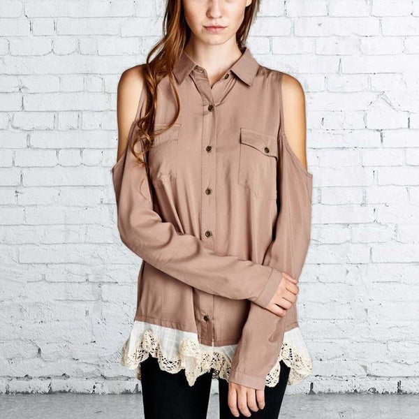 Foxly Lace Top in Timber: Featured Product Image
