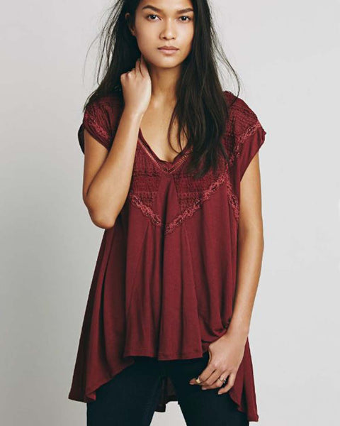 Free People Abigail Tee in Wine: Featured Product Image