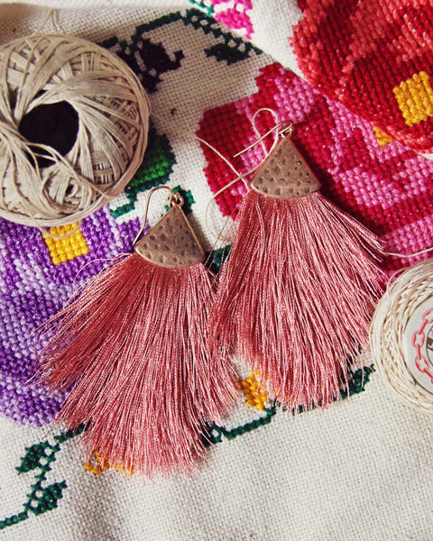 Desert Fringe Earrings in Pink: Featured Product Image