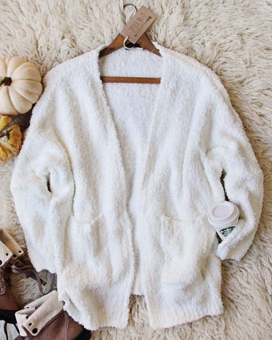 Fuzzy Wuzzy Cardigan in White
