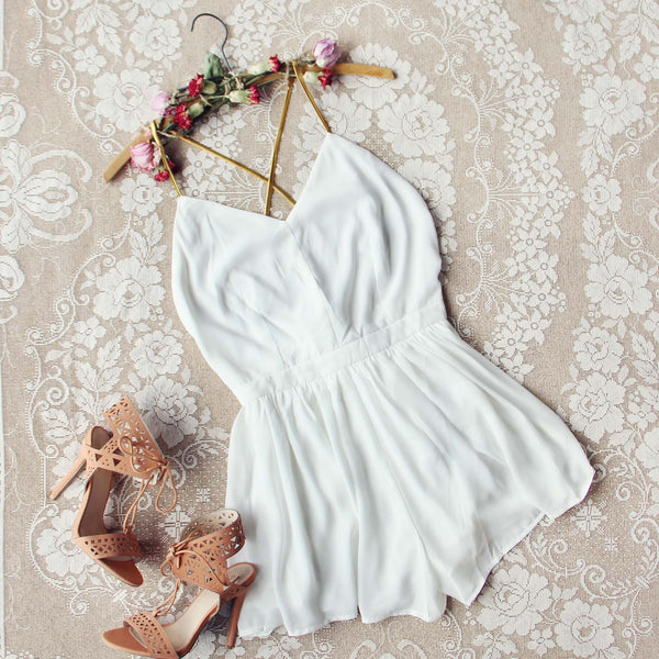 Ancient Rose Romper in White: Featured Product Image