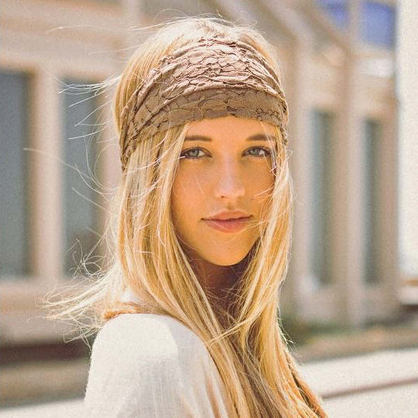 Gypsy Lace Headwrap in Sand: Featured Product Image