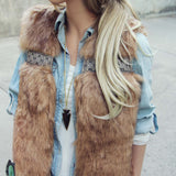 Gypsy Pine Faux Fur Vest: Alternate View #2