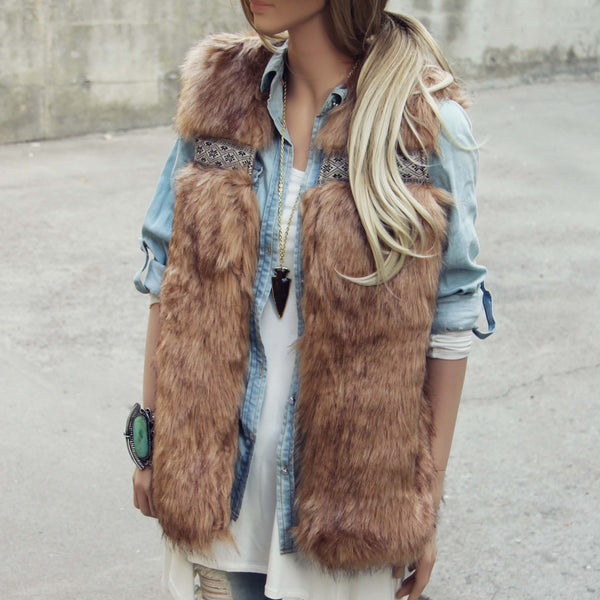 Gypsy Pine Faux Fur Vest: Featured Product Image
