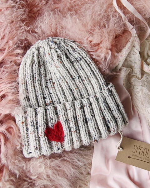Hand Knit Heart Beanie in Gray: Featured Product Image