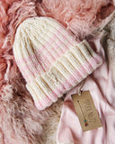 Hand Knit Heart Beanie in Pink: Alternate View #2