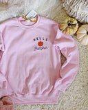 Hello Pumpkin Sweatshirt in Pink: Alternate View #3