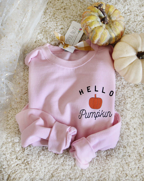 Hello Pumpkin Sweatshirt in Pink: Featured Product Image