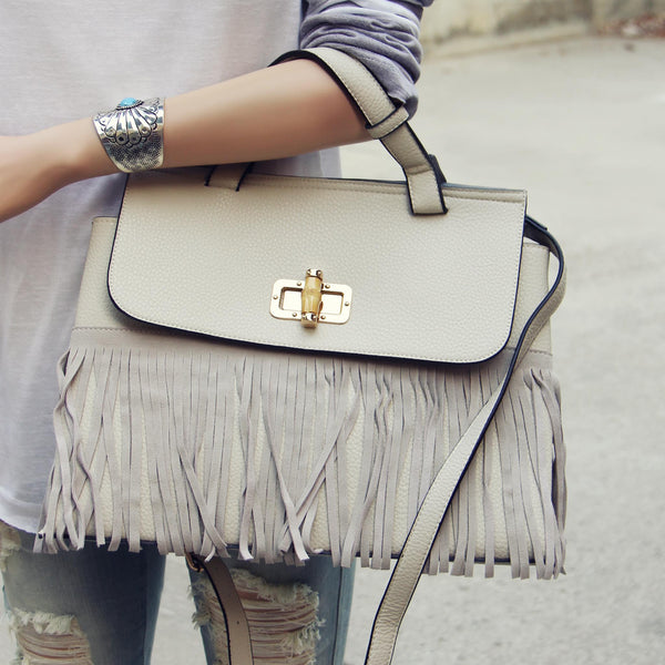 Honey Hush Fringe Tote in Cream: Featured Product Image