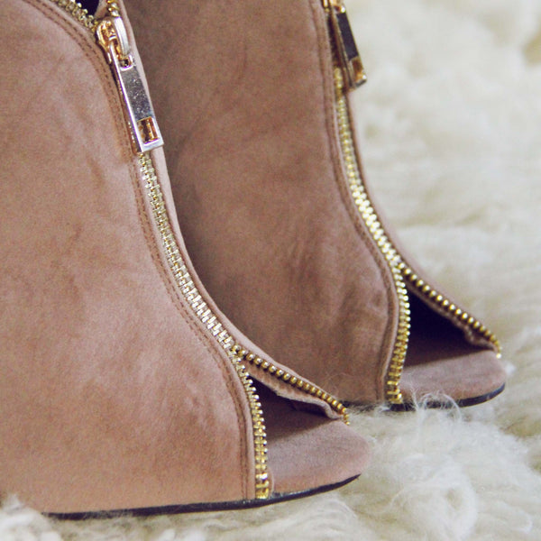 Honey Suede Heels: Featured Product Image