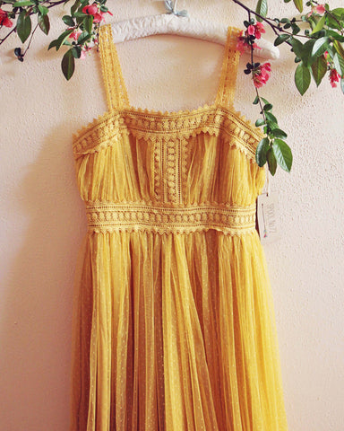 70's Swiss Dot Dress in Mustard