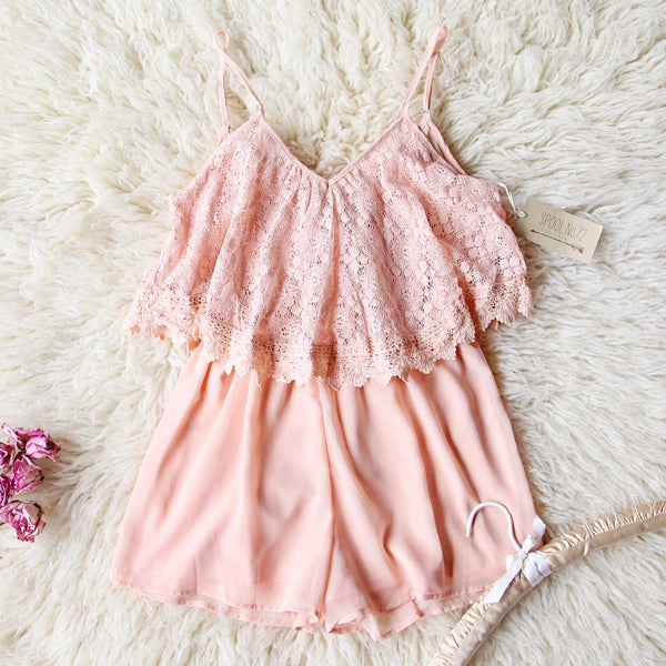 Just Peachy Lace Romper: Featured Product Image