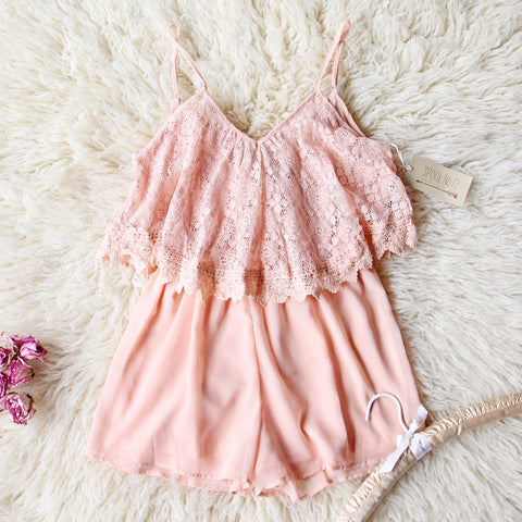 Just Peachy Lace Romper