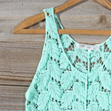 La Conner Lace Tank in Mint: Alternate View #2