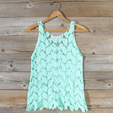 La Conner Lace Tank in Mint: Alternate View #1