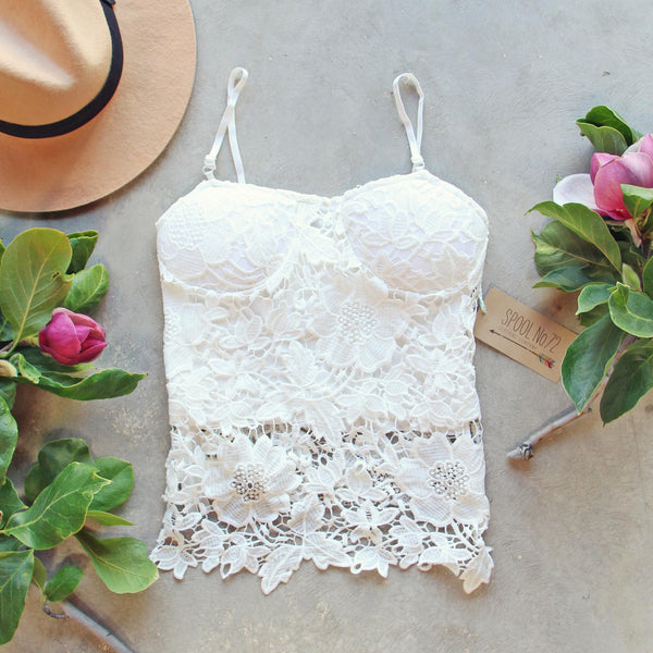 La Lune Lace Top in White: Featured Product Image