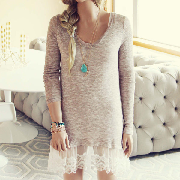 Lace Cactus Dress in Taupe: Featured Product Image