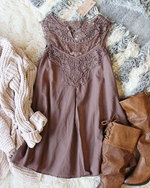 Lace Gypsy Dress in Mocha: Featured Product Image