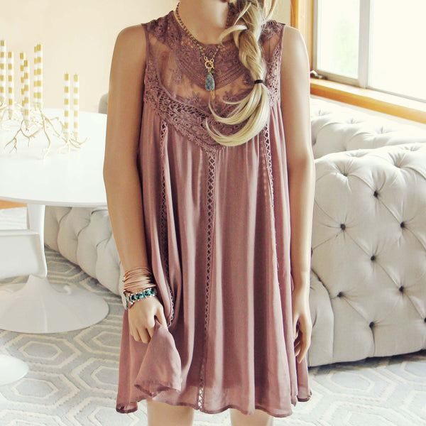 Lace Gypsy Dress in Taupe: Featured Product Image