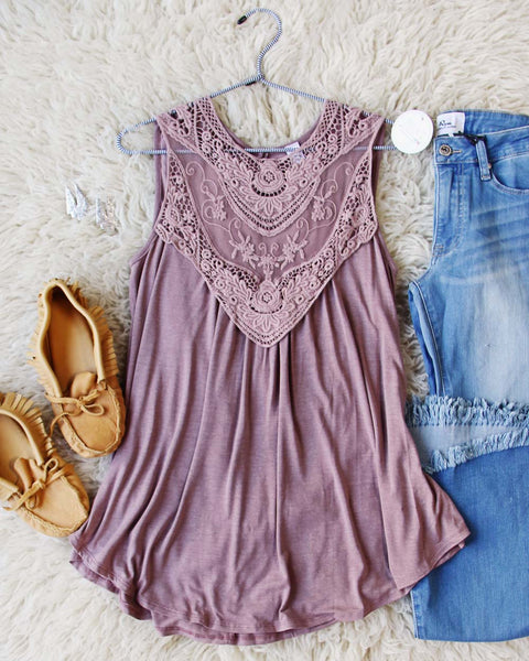 Lace Gypsy Tank in Taupe: Featured Product Image