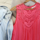 Lace Gypsy Top in Coral: Alternate View #2