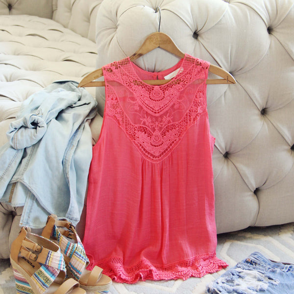 Lace Gypsy Top in Coral: Featured Product Image