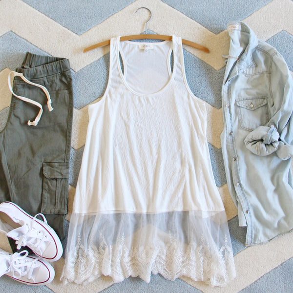 The Lace Hem Layering Tank in White: Featured Product Image