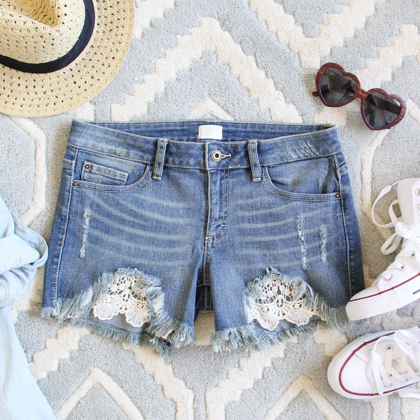 Laced Denim Shorts: Featured Product Image