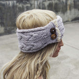 Lace & Knit Headwrap in Gray: Alternate View #3