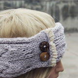 Lace & Knit Headwrap in Gray: Alternate View #2